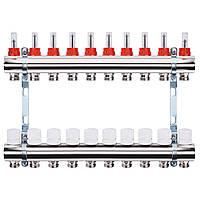 """Коллектор с расходомерами, регуляторами и креплением ECO 001A 1""""x10, фото 1"""