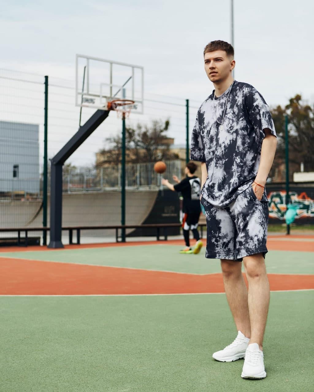 Квил Дудкан Мужской спортивный костюм/комплект графит лето/весна.  Футболка+шорты Турция