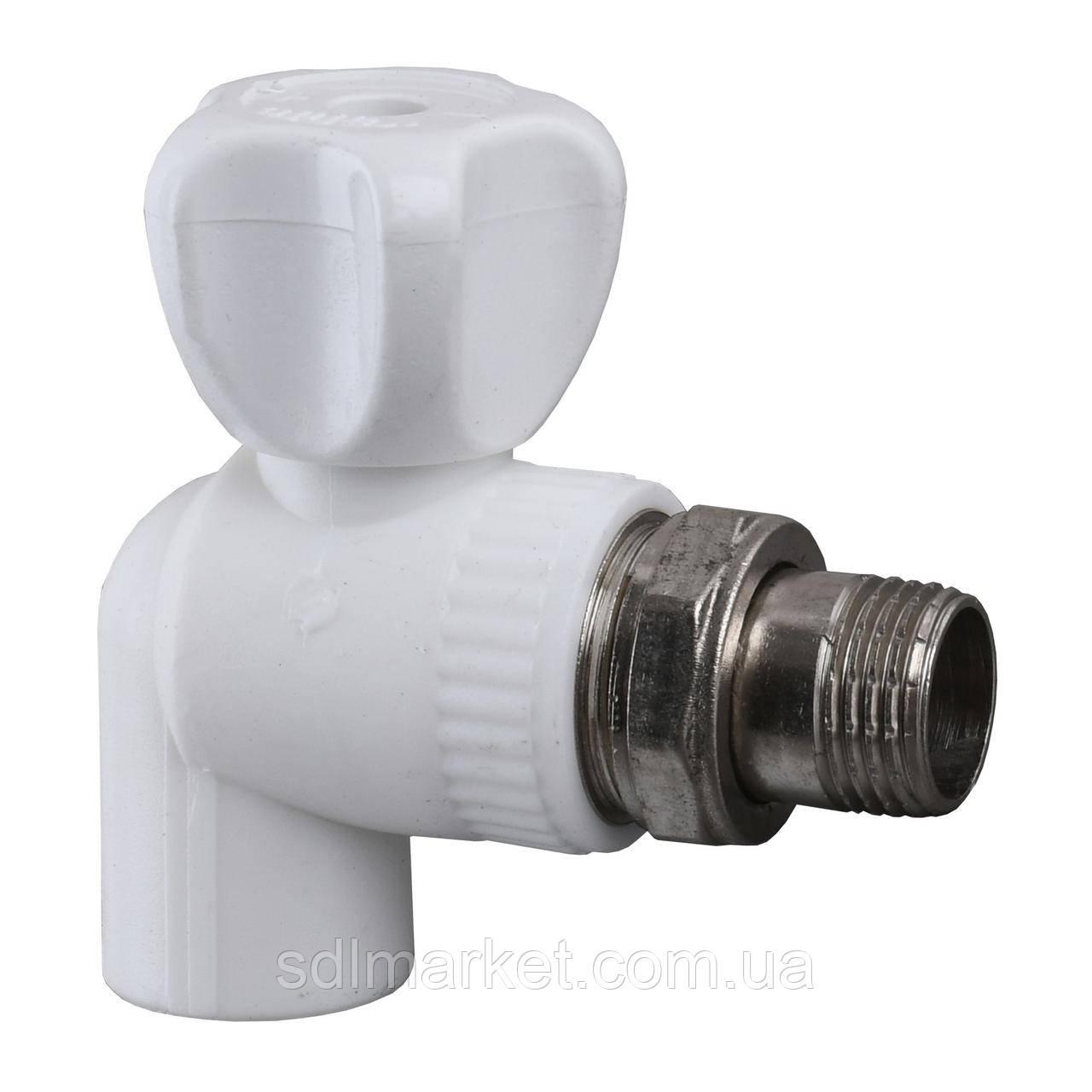 Кран радіаторний кутовий Kalde PPR ф20х1/2 (білий) 22013