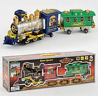 Игрушка детский паровоз с вагоном на батарейках 2412