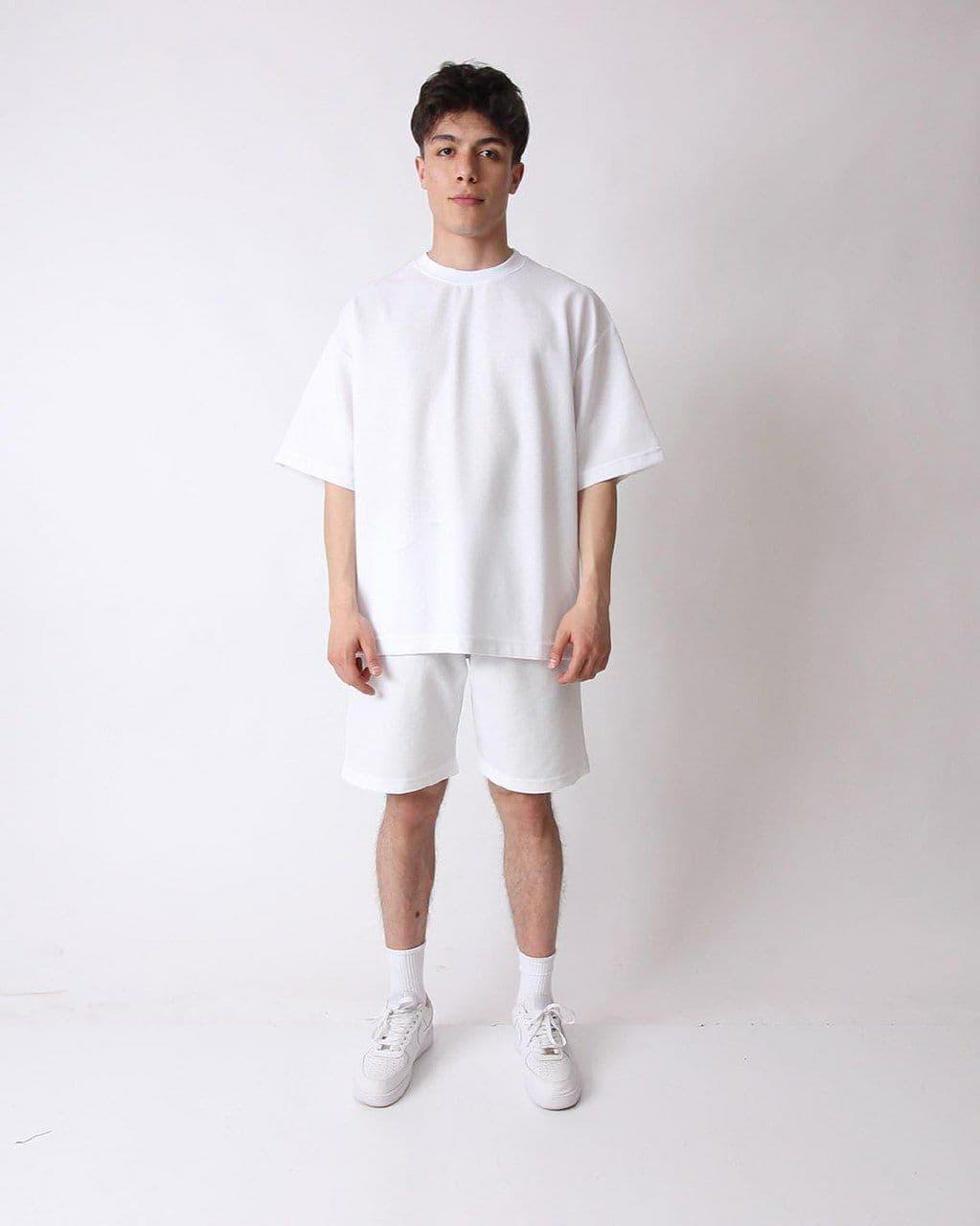 Oversize Basic Мужской спортивный костюм/комплект белый лето/весна.  Футболка+шорты двунить Турция