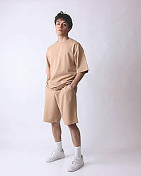 Oversize Basic оверсайз Мужской спортивный костюм/комплект бежевый лето/весна. Футболка+шорты двунить Турция