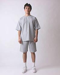 Oversize Basic оверсайз Мужской спортивный костюм/комплект меланж лето/весна. Футболка+шорты двунить Турция