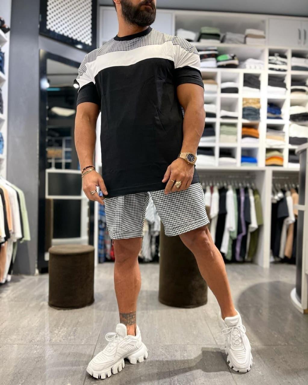 Oversize оверсайз Мужской классический спортивный костюм/комплект черный лето. Футболка+шорты коттон Турция