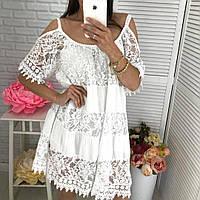 Летнее платье сарафан с ажурными вставками. Производство Италия. Оверсайз