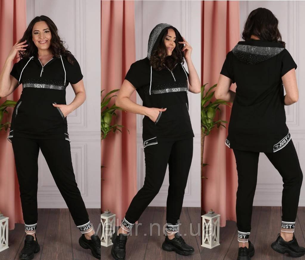 Жіночий літній костюм з брюками *Печатка* (Туреччина); Розміри:50,52,54,56(повномірні)