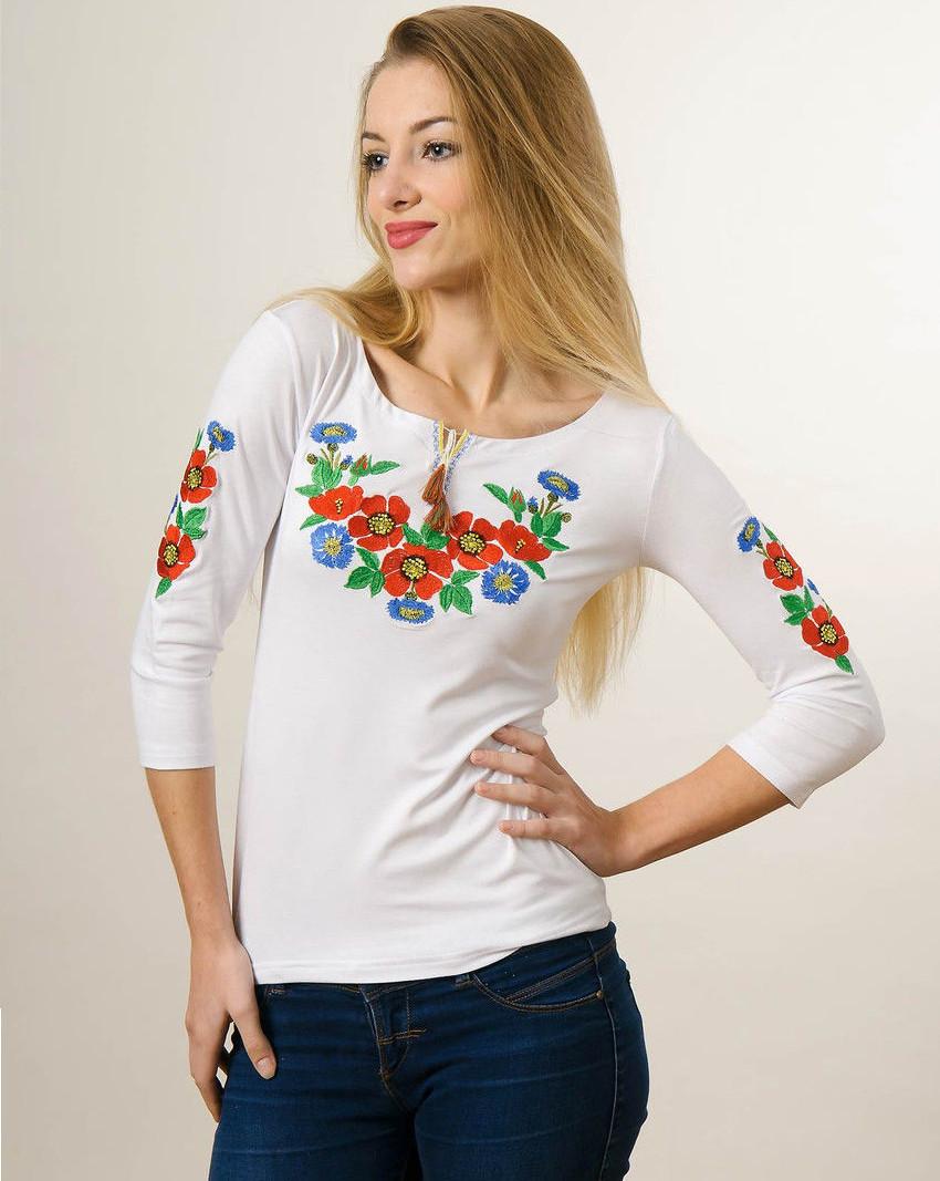 """Вышиванка женская рукав 3/4 """"Букет цветов"""" белая"""