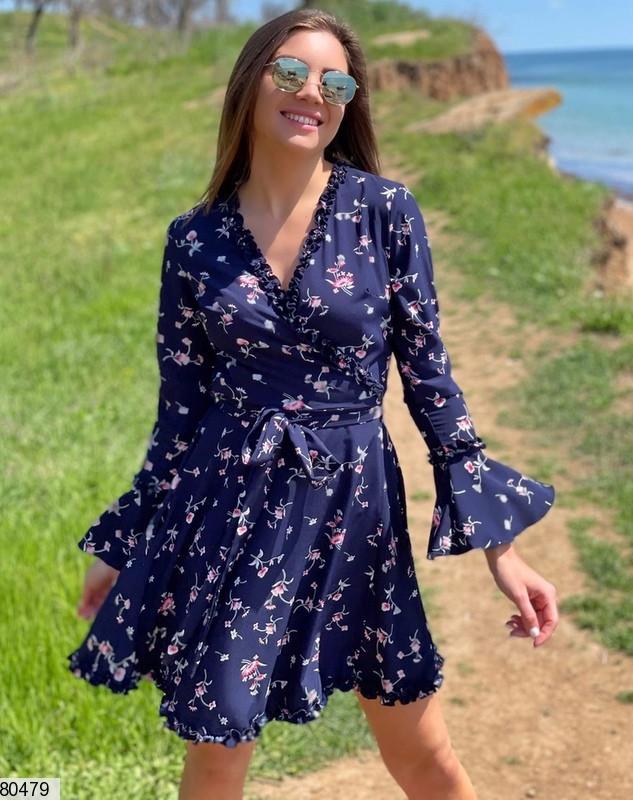 Р. 42-48 Летнее платье в цветочек на запах с длинными рукавами