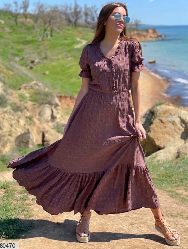 Р. 42-48 Жіноча літнє плаття максі з жатого бавовни