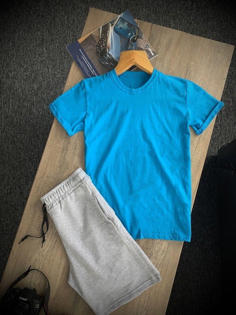 Мужской классический прямой спортивный костюм/комплект голубой лето. Футболка+шорты хлопок Турция