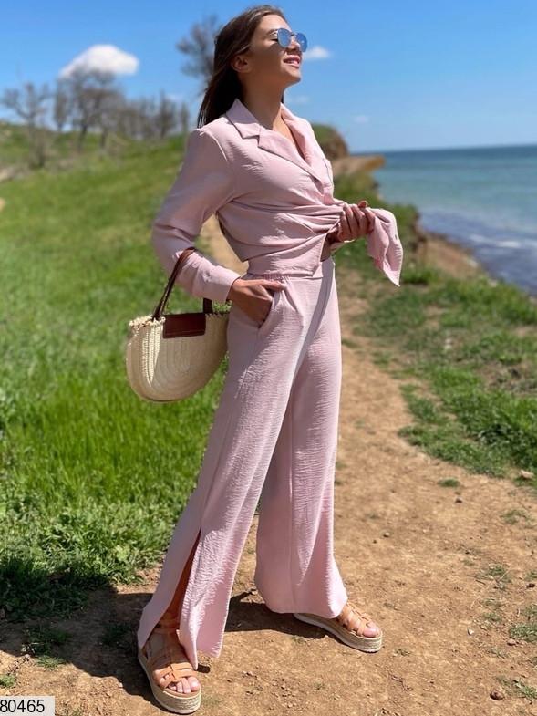 Р. 42-48 Жіночий літній костюм з сорочкою і брюками з жатого бавовни