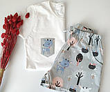 Якісна піжама з м'якого бавовни з оленями в сірому кольорі, футболка і шорти, фото 2