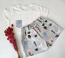 Качественая пижама с мягкого хлопка с оленями в сером цвете, футболка и шорты