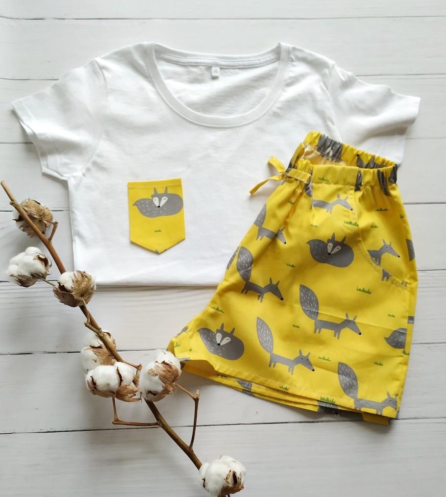 Піжама бавовняна, жовта з лисичками, футболка шорти