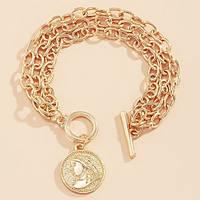 Браслет тройная цепь с медальоном (цвет золото), фото 1