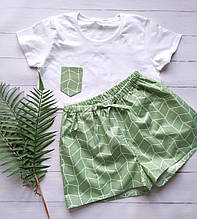 Пижама сатиновая в зеленом цвете, футболка и шорты