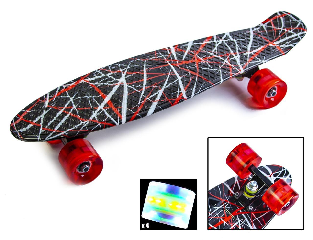 """Пенни борд скейт со светящимися колесами 22"""" принт Red design"""