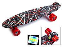 "Пенни борд скейт со светящимися колесами 22"" принт Red design, фото 1"
