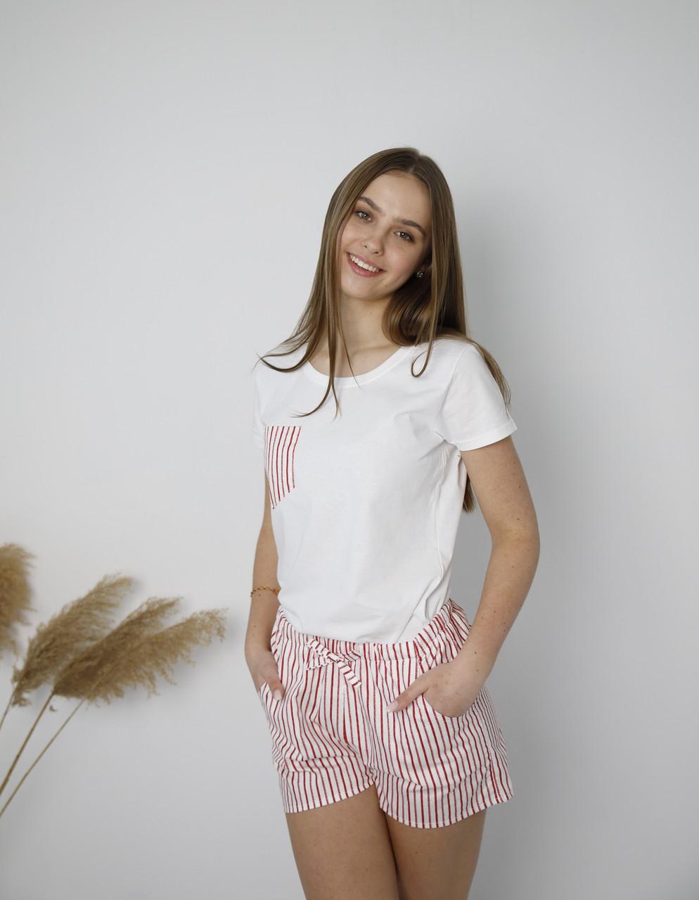Пижама хлопковая,  серая в полоску, футболка и шорты