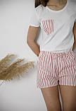 Пижама хлопковая,  серая в полоску, футболка и шорты, фото 2