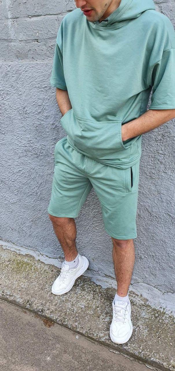 Мужской костюм летний худи и шорты бирюзовый и черный  О Д