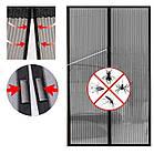 """Москітна сітка на магнітах на двері """"Magic Mesh"""" в упаковці, 200 см. х 104 див., чорна, фото 2"""
