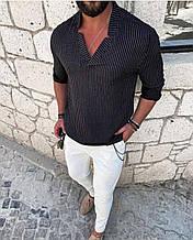 Мужская рубашка без застежки черная,хаки,белая О Д
