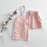 Сатинова піжама рожева в серця, шорти, майка, фото 3