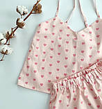 Сатинова піжама рожева в серця, шорти, майка, фото 2