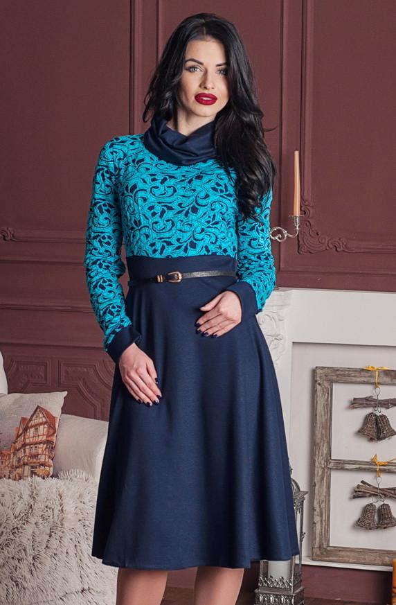 стильное офисное платье ниже колена, синее платье, женское деловое платье