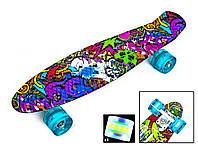 "Пенни борд скейт со светящимися колесами 22"" принт Graffiti Violet"