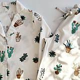 Домашний костюм-пижама с кактусамы, рубашка и штаны в мягкой фланели, фото 2