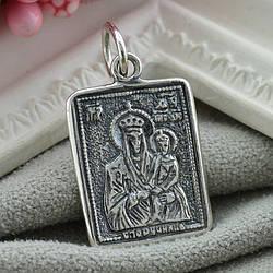 Срібна іконка з чорнінням Богородиця розмір 25х13 мм вага 1.9 г