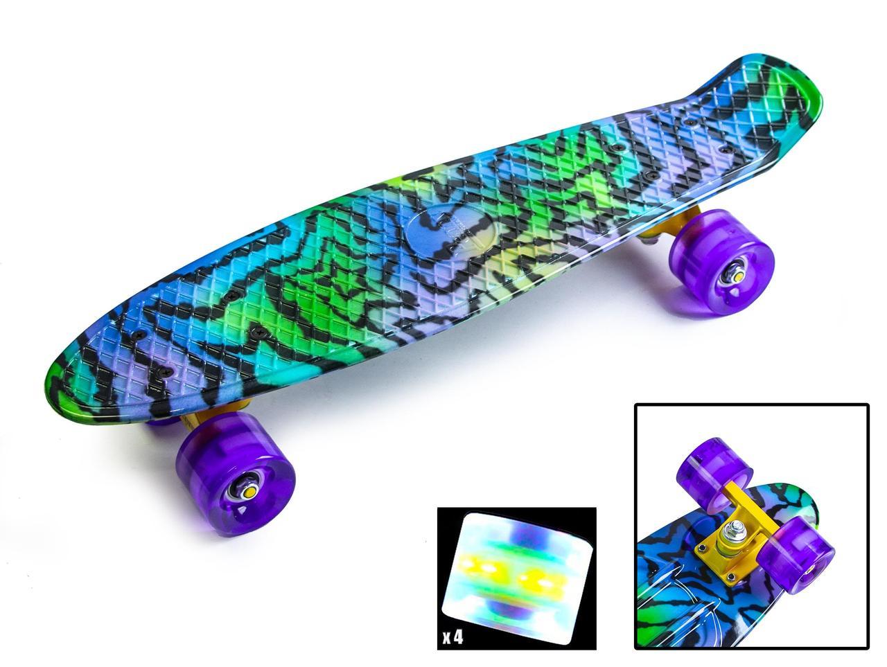 """Пенні борд скейт 22"""" колеса світяться принт Star"""
