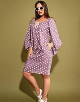 Женское  платье в горошек с открытыми плечами лен