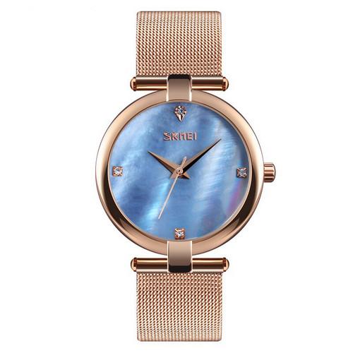Наручний жіночий годинник Skmei Cuprum-Blue класичні Годинник Скмей на руку Кварцові 100% ЯКІСТЬ!