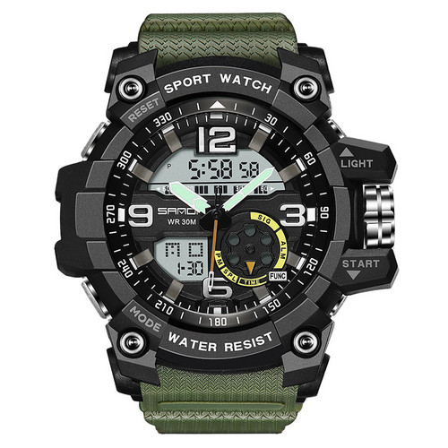 Спортивні годинник Sanda 759 Green-Black наручні NEW Чоловічі годинник на руку Кварцові електронні СПОРТ