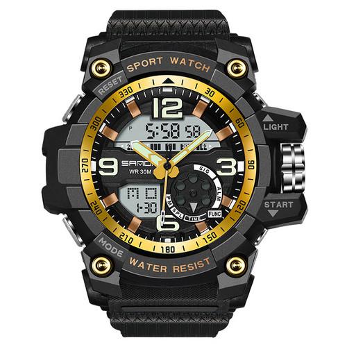 Спортивные часы Sanda 759 Black-Gold наручные NEW Мужские годинник на руку Кварцевые электронные СПОРТ