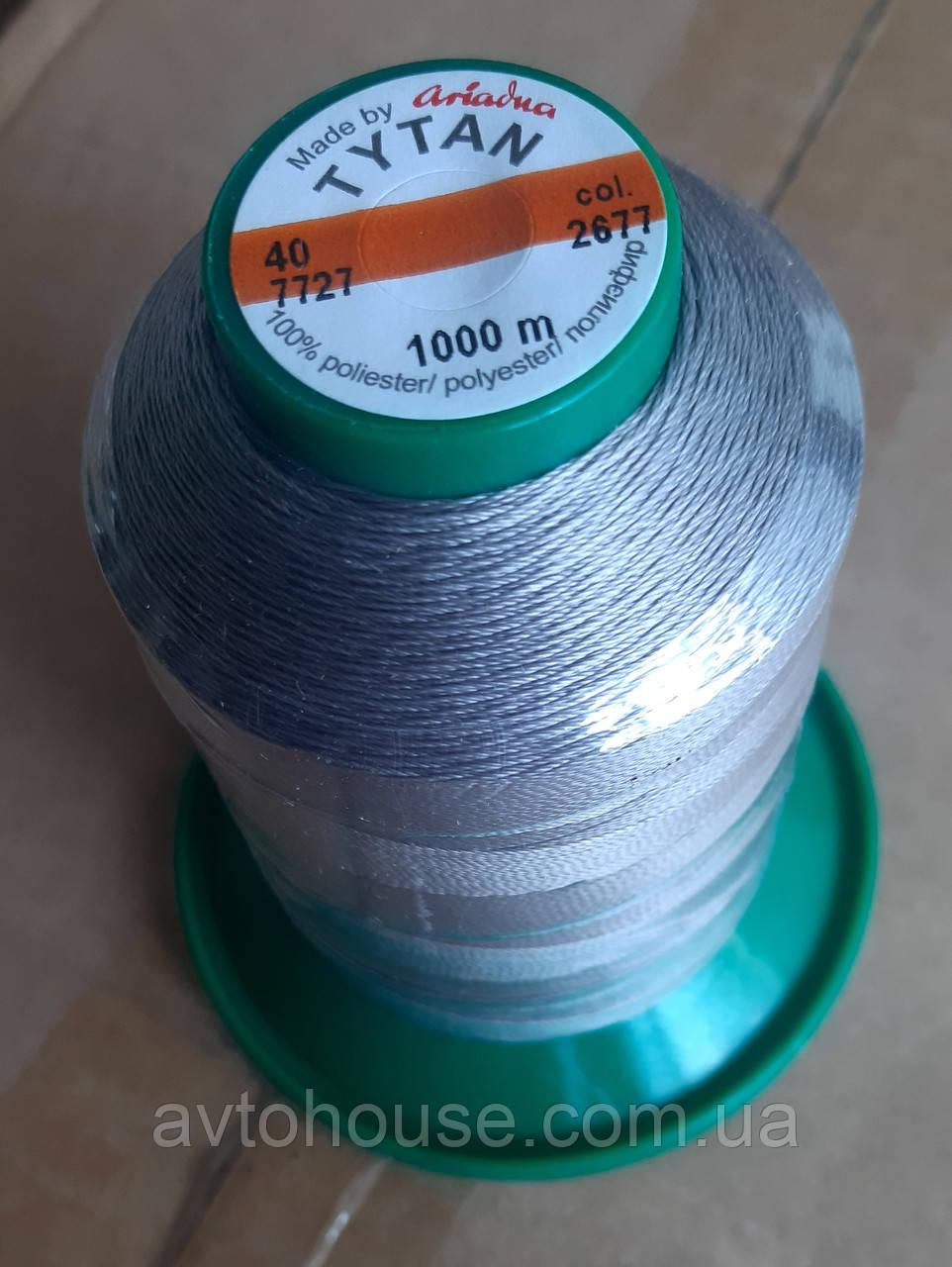 Поліестрова нитка TYTAN 40 / 1000м (2677) Колір сірий.