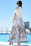 """Жіноча довга пляжна шифонова туніка у великих розмірах 8056-39 """"Леопард Квіти Купон"""" в кольорах, фото 2"""