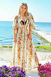 """Жіноча довга пляжна шифонова туніка у великих розмірах 8056-39 """"Леопард Квіти Купон"""" в кольорах, фото 3"""