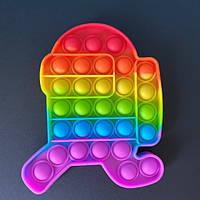 Мягкая игрушка Поп ит Бесконечная пупырка антистресс pop it fidget Разноцветный амонг ас