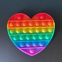 Мягкая игрушка Поп ит Бесконечная пупырка антистресс pop it сердце Разноцветный