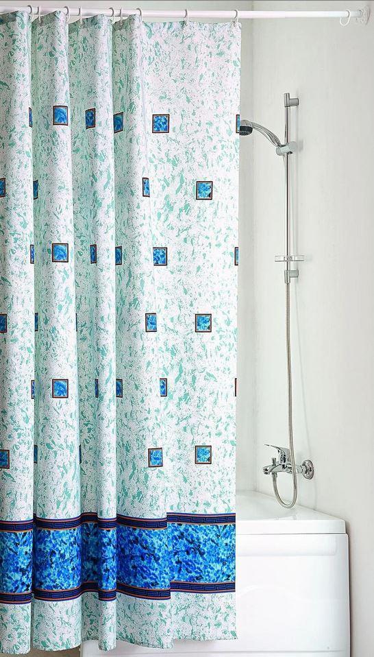 """Штора для ванной с водоотталкивающей пропиткой 180x200 см """"Изумруд"""" Голубой 005"""