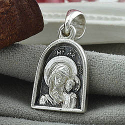 Срібна іконка з чорнінням Богородиця розмір 26х13 мм вага 4.13 г