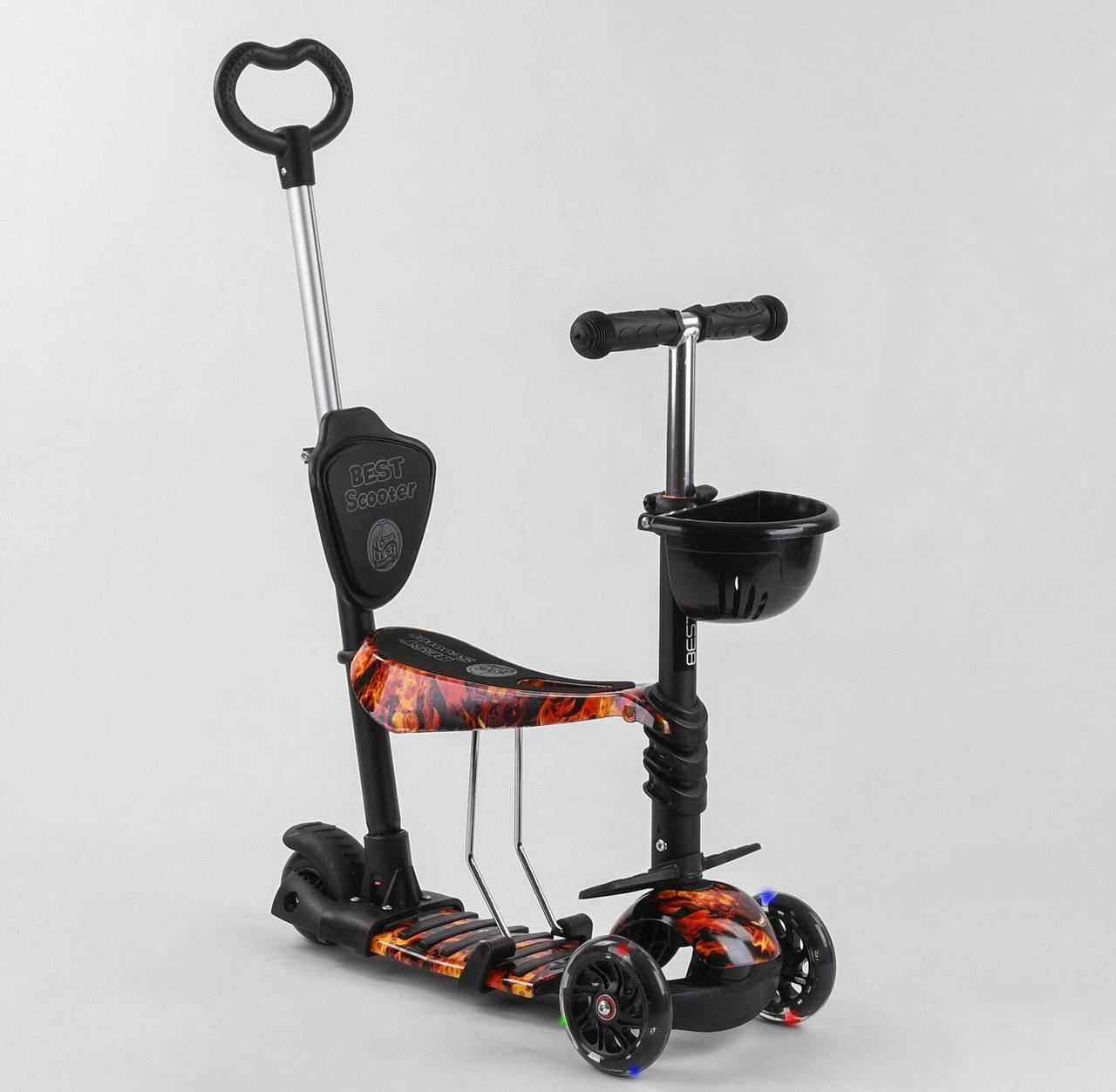 Самокат з сидінням, батьківською ручкою і підсвічуванням коліс 5в1 Best Scooter 17334 Абстракція