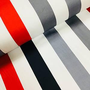 Ткань сатин с рисунком, полоска черно-серо-красная на белом (ТУРЦИЯ шир. 2,4 м) Отрез(0,5*2,4м)