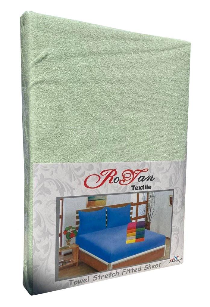 Махровый комплект на резинке Royan в силиконовой упаковке 160*200 см Мохито