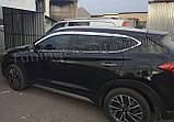 Дефлекторы окон, ветровики хромированные Hyundai Tucson 2015-2020 (Autoclover D623), фото 3