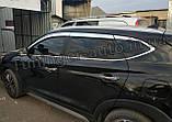 Дефлекторы окон, ветровики хромированные Hyundai Tucson 2015-2020 (Autoclover D623), фото 4